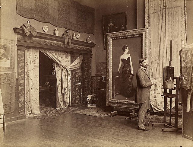 From commons.wikimedia.org: John Singer Sargent in atelier {MID-226033}
