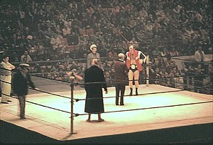 Maple Leaf Gardens - Ring introductions for the NWA World Heavyweight Championship match between champion Dory Funk, Jr. and challenger Johnny Valentine, February 11, 1973.