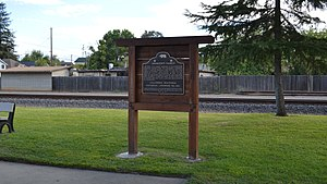 National Register of Historic Places listings in Yuba County, California - Image: Johnson's Ranch plaque