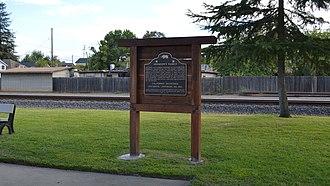 California Historical Landmarks in Yuba County, California - Image: Johnson's Ranch plaque