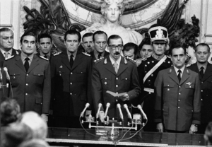 National Reorganization Process - Lieutenant General Jorge Rafael Videla swearing the Oath as he becomes the President of Argentina.