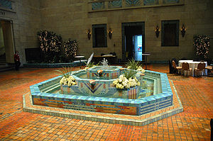 Joslyn Art Museum fountain court in Omaha, Neb...