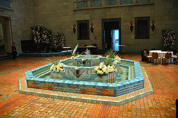 Joslyn Art Museum's tiled Fountain Court