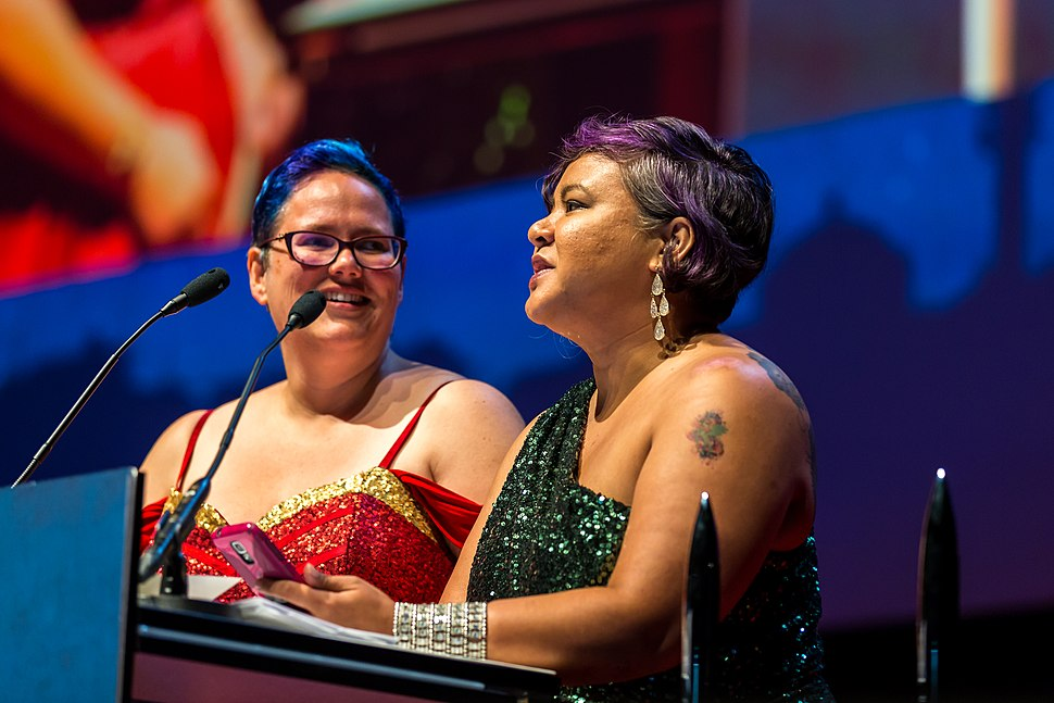 Julia Rios and Michi Trota, for Uncanny Magazine at the Hugo Award Ceremoy at Worldcon in Helsinki