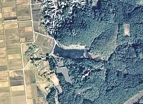 Junsai-ike water reservoir in Agano city Aerial photograph.1975.jpg