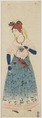 KITLV - 48M4 - Portrait of a European woman with a parrot on Dejima, Nagasaki - Coloured woodcut - Circa 1820.tif