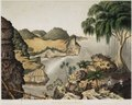 KITLV - 50G2 - Junghuhn, Franz Wilhelm (1809-1864) - Mieling, C.W. - South coast of Java east of Rankop (Rongkop-Rongkap?). Men collecting birds' nests - Colour lithography - 1853-1854.tif