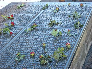 1942 Luxembourgish general strike - The names of the victims of the strike who were executed at Hinzert are among those inscribed on a catafalque at the site of the concentration camp