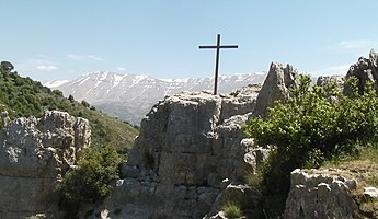 Kadisha Valley, Lebanon, home to some of the earliest Christian monasteries in the world Kadisha Valley cross.jpg