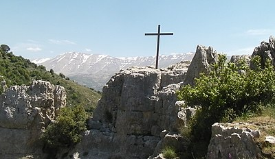 A Cross on  north side of the Qadisha Valley and on the western outskirts of Blaouza.