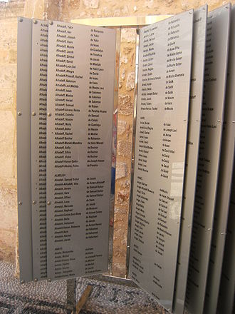Kahal Shalom Synagogue - Plaque commemorating Jewish Holocaust victims from Rhodes, synagogue courtyard