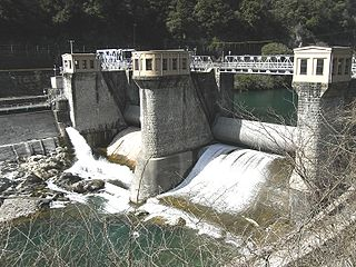 Kamiasō Dam dam in Gifu Prefecture, Japan.
