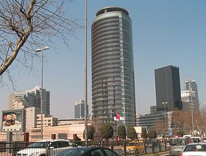 Levent - Kanyon Towers & Mall on Büyükdere Avenue in Levent, with Istanbul Sapphire in the background.