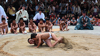 "Double Ninth Festival - Karasu-zumo - lit. ""crow sumo"", part of the festivities held on September 9 at Kamigamo Shrine in Kyoto"
