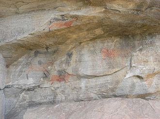 South African art - Sandstone with bushmen rock paintings, Karoo System, (Amathole Mountains, South Africa)