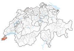 Map o Switzerland, location o Geneva heichlichtit