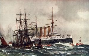 HMS Kent (1901) - HMS Kent Passing South Sand Lightship