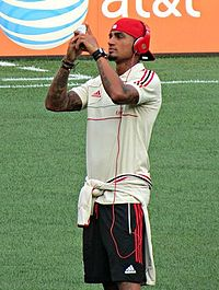 Kevin-Prince Boateng taking photos of Yankee Stadium (cropped).jpg