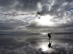 Kite-flying on Ogmore-by-Sea beach (geograph 3260676).jpg