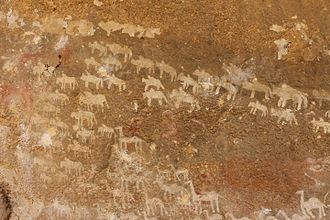 Eritrea - Neolithic rock art in a Qohaito canyon cave.