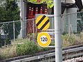 Korea Railway Advance Notice of Deadsection sign and Speed Limit sign.JPG