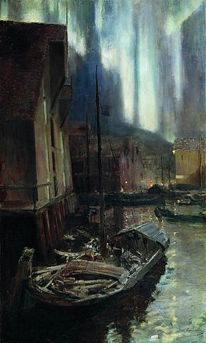 Hammerfest - Painting by Konstantin Korovin, inspired by the Aurora Borealis in Hammerfest