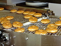 Krispy Kreme doughnuts being made at the Krisp...