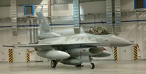 31st Air Base - One of the first Polish F-16's to arrive at Krzesiny, photo taken on November 11, 2006