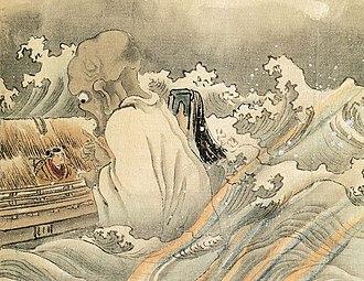 "Funayūrei - Kawanabe Kyōsai's ""Boatman and Funayūrei"". An example of a funayūrei rendered as an umibōzu-like yokai."