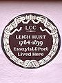 LEIGH HUNT 1784-1859 Essayist & Poet Lived Here.jpg