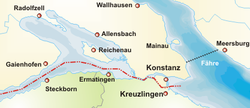 Reichenau, shown with Konstanz and Bodensee Kreise of Germany (yellow) and Thurgau canton of Switzerland (green)