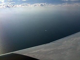 HSC Lake Express - Image: Lake express on lake michigan from airplane