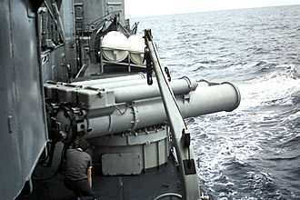 Torpedo tube - The French destroyer Kersaint prepares to launch a torpedo in 1970