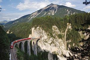 History of rail transport in Switzerland - Landwasser Viaduct on the Rhaetian Railway