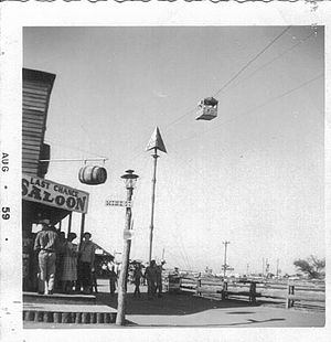 Frontier City - Last Chance Saloon and skyride at original Frontier City location (1959)