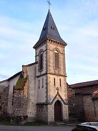 Le clocher de l'église de Saint-Priest-sous-Aixe.jpg