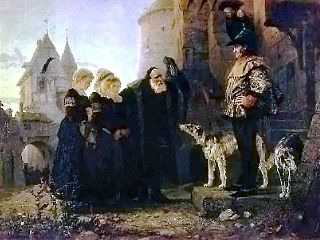 Vasily Polenov: Le droit du Seigneur (1874).An old man bringing his young daughters to the feudal lord.