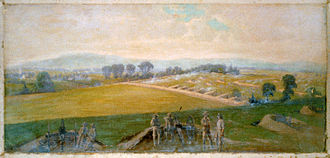 Retreat from Gettysburg - Earthworks in Lee's Potomac line (Last stand of the Army of Virginia, commanded by General Lee), painting by Edwin Forbes