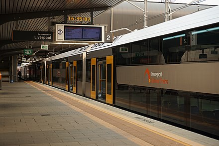 A Sydney Trains service at Leppington station LeppingtonStationTrain1.jpg