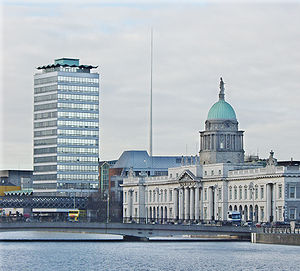 Economy of the Republic of Ireland - Image: Liberty Hall Spire and Custom House brighter