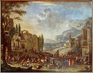 Marché en Italie avec représentation imaginaire de ruines