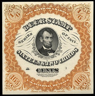 Revenue stamp - 1871 U.S. Revenue stamp for 1/6 Barrel of beer