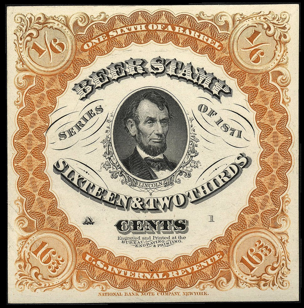 Lincoln Beer Stamp 1871
