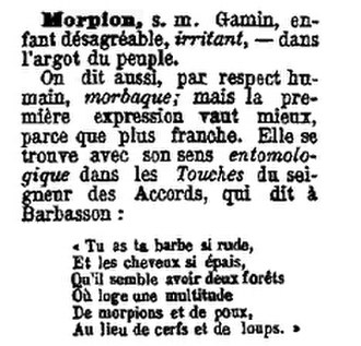 Serif - Serifed text in a dictionary of French slang