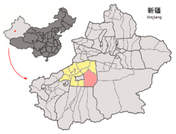 Location of Shayar within Xinjiang (China).png