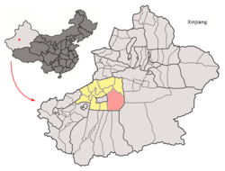 Location of Shayar County within Xinjiang, China