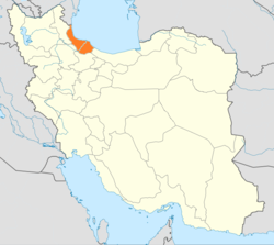 Map of Iran with Gilan highlighted