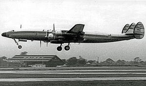 Lockheed L-1649 Starliner - Lufthansa Starliner taking off from Manchester Airport in 1961 when operating a freight schedule to New York's Idlewild Airport