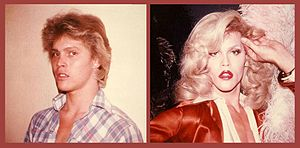 two panel photograph, the left panel is a man in a plaid shirt, the right panel is the same man wearing a fancy dress and radiant blond wig, appearing as a woman