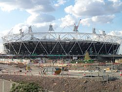 London Olympic Stadium construction Spring 2010.jpg